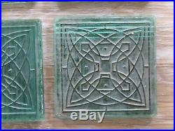 Set Of 8 Architectural Luxfer Glass Tiles Frank Lloyd Wright Flower Design Green