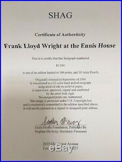 Shag Frank Lloyd Wright at Ennis House #81 serigraph print Mid-century modern