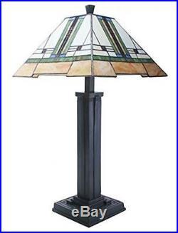 Summit Frank Lloyd Wright 28 Mission Style Art Glass Table Lamp