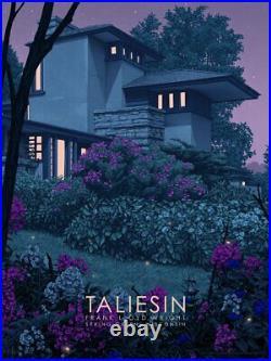 TALIESIN EAST Rory Kurtz Screen Print Poster Frank Lloyd Wright House Art