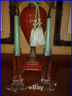 TIFFANY & CO. Crystal FRANK LLOYD WRIGHT Pair of 6 Signed Candlesticks 1986