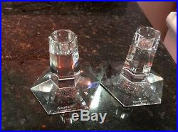 TIFFANY & CO. Crystal FRANK LLOYD WRIGHT Pair of Signed Candlesticks EXCELLENT