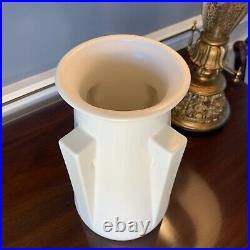 Teco Four Buttress Vase White Satin Frank LLoyd Wright 10.5 inches tall