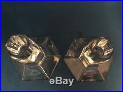 Tiffany & Co. Frank Lloyd Wright FLW 3 1/2 Architectural Crystal Candleholders