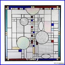 Tiffany Style Stained Glass Window Panel Abstract Frank LLoyd Wright Metal Frame