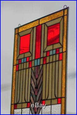 Tiffany Style Stained Glass Window Panel RV Frank Lloyd Wright Inspired Prairie