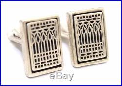 VERY RARE Vtg Modernist FRANK LLOYD WRIGHT Sterling Silver MoMANY Cufflinks