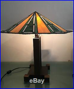 Vintage frank lloyd wright foundation stained glass table lamp vintage frank lloyd wright foundation stained glass table lamp aloadofball Gallery