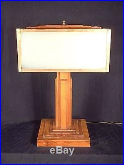 Vintage MID Century Frank Lloyd Wright Style Architectural Skyscraper Lamp