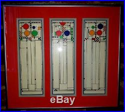 Vintage Frank Lloyd Wright Avery Coonley Playhouse Stained Glass Lithograph
