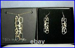 Vintage Frank Lloyd Wright Coonley Sterling Silver Necklace & Earrings In Boxes