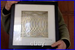 Vintage Frank Lloyd Wright Wall Glass Cut Brass Panel Frame George Blossom House