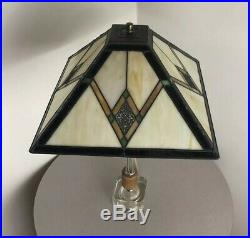 Vintage Mid Century Danish Modern Lucite Teak Frank Lloyd Wright Era Lamp