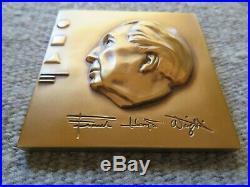 Vtg Frank Lloyd Wright Bronze Medallion Paperweight, Romeo Juliet, Medallic Art