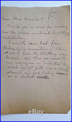 William Gray Purcell Drawing With Note To Iannelli Worked W Frank Lloyd Wright
